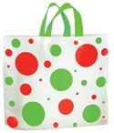 16 in x 15 in + 6 in Soft Loop Handle Holiday Shopping Bags - Dots