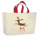 22 in x 18 in + 8 in Soft Loop Handle Holiday Shopping Bags - Joy themed