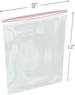 9 in x 12 in 6-Mil Reclosable Double Zip Poly Bags