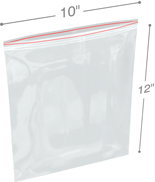 10 in x 12 in 6-Mil Reclosable Double Zip Poly Bags