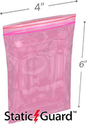4 in x 6 in 4-Mil Minigrip Reclosable Pink AntiStatic Bag
