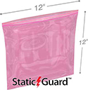 12 in x 12 in 4-Mil Minigrip Reclosable Pink AntiStatic Bag