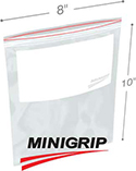 8 in x 10 in 4 Mil Reclosable Double Zip Poly Bags Whiteblock