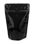 12 oz Stand Up Pouch with valve Black PET/ALU/LLDPE