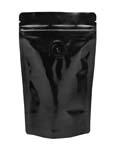 2 oz Stand Up Pouch with valve Clear/Black PET/ALU/LLDPE