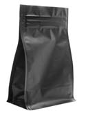 12 oz Block Bottom Side Gusset Bags  Matte Black MBOPP / PET / ALU / LLDPE