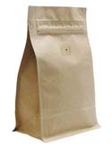 12 oz Block Bottom Side Gusset Bags with valve Kraft KRAFT / PET / ALU / LLDPE