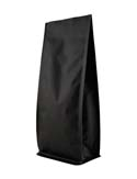 16 oz Block Bottom Side Gusset Bags with valve Matte Black MBOPP / ALU / LLDPE
