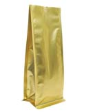 8 oz Block Bottom Side Gusset Bags  Matte Gold MBOPP / PET / ALU / LLDPE