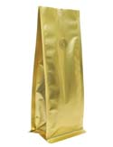 8 oz Block Bottom Side Gusset Bags with valve Matte Gold MBOPP / PET / ALU / LLDPE