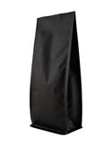 16 oz Block Bottom Side Gusset Bags  Matte Black MBOPP / ALU / LLDPE
