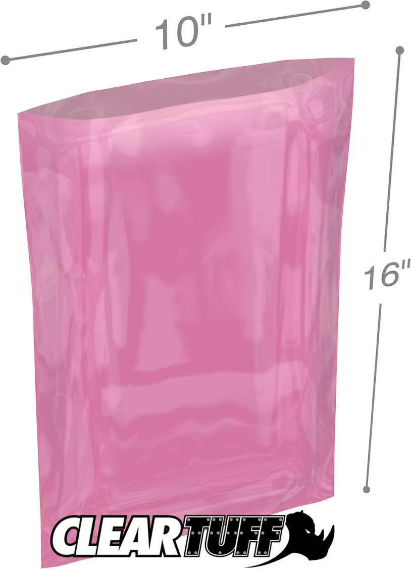 10x16 Poly Bags - Pink Anti-Static