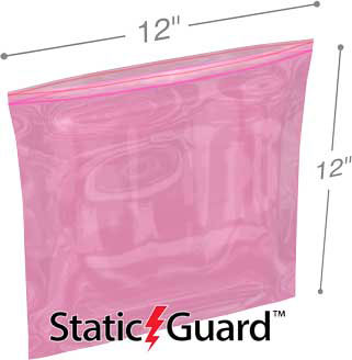 12x12 4Mil Minigrip Reclosable Pink Anti Static Bags