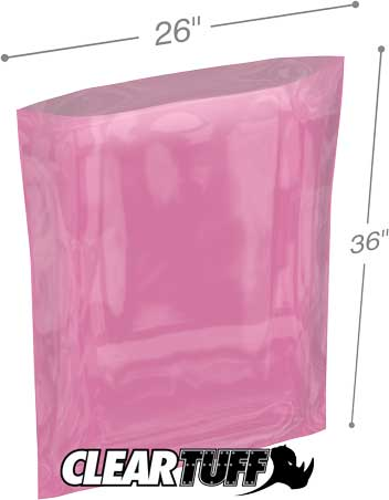 26x36 4 mil Pink Antistat Poly Bags