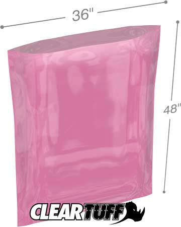 36x48 4 mil Pink Antistat Poly Bags