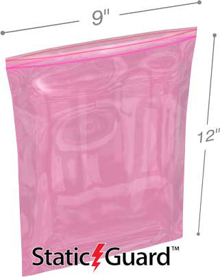 9x12 4Mil Minigrip Reclosable Pink Anti Static Bags