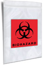 2 Wall NO BACK FLAP Reclosable Printed 2 color Black and Red Biohazard
