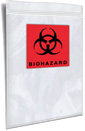 3 Wall Reclosable Printed 2 color Biohazard Document Pouch with Back Flap