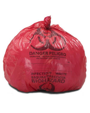 8-10 Gallon Red 24 x 23 Medical Waste Trash Bags