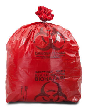 8-10 Gallon Red 24 x 30 Medical Waste Trash Bags