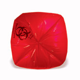 Red Healthcare Trash Bags with Infectious Waste Print