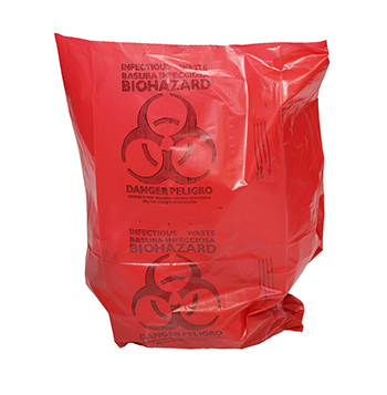 24x32 Red Healthcare Trash Bag with Infectious Waste Print