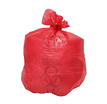 30x43 Red Healthcare Trash Bag with Infectious Waste Print