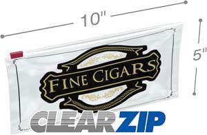 10x5 3 mil slider lock cigar bag