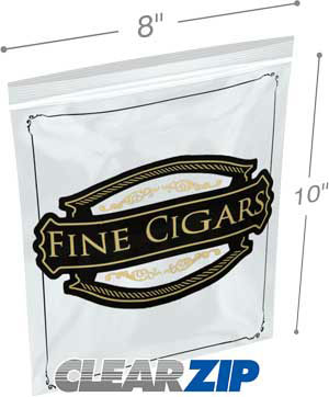 8x10 2 mil zipper lock cigar bag