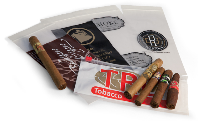 Custom Printed Zipper Cigar and Tobacco Bags, Custom Printed Slider Cigar and Tobacco Bags, Custom Printed Carrier with Die-Cut Handle Tobacco Bags, Custom Printed Laminated Tobacco Bags, Custom Printed Laminated Humidity Ziplock Cigar Bags
