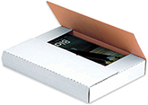 12 1/8 x 9 1/8 x 1 White Corrugated Bookfold Mailer