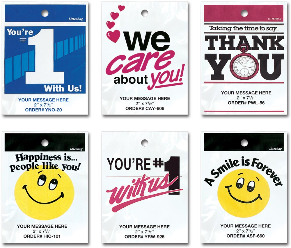 Custom Printed Safety And Prevention Litterbags Customer Appreciation Environemtally