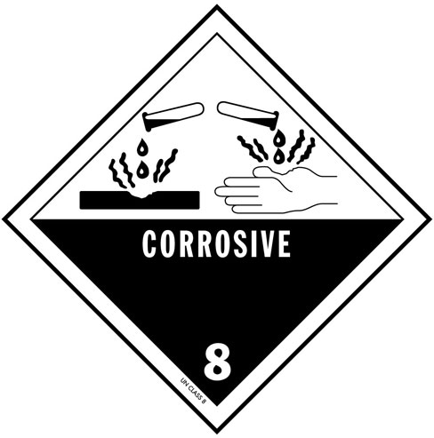 D.O.T. Corrosive Material Label for Transportation of Hazardous Materials - Class 8