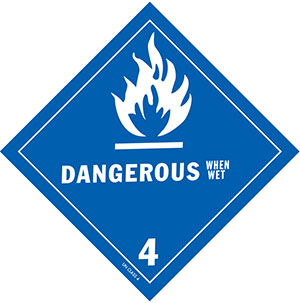 D.O.T. Dangerous When Wet Label for Transportation of Hazardous Materials - Class 4