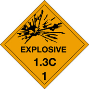 D O T Explosives 1.3C label for Transportation of Hazardous Materials
