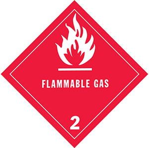 D.O.T. Flammable Gas Label for Transportation of Hazardous Materials - Class 2