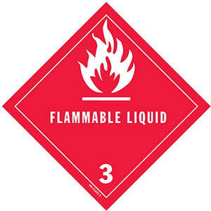 D.O.T. Flammable Liquid Label for Transportation of Hazardous Materials - Class 3