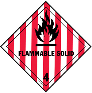 D.O.T. Flammable Solid Label for Transportation of Hazardous Materials - Class 4
