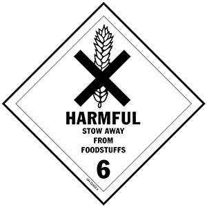 D.O.T. Harmful to Foodstuffs Label for Transportation of Hazardous Materials - Class 6