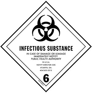 D.O.T. Infectious Substance Label for Transportation of Hazardous Materials - Class 6