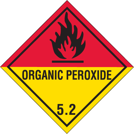 D.O.T. Organic Peroxide Label for Transportation of Hazardous Materials - Class 5