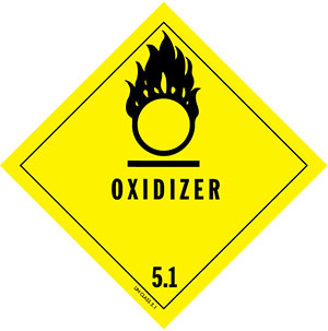 D.O.T. Oxidizer Label for Transportation of Hazardous Materials - Class 5