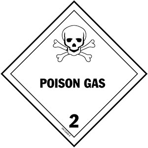D.O.T. Poisonous Gas Label for Transportation of Hazardous Materials - Class 2