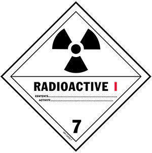 D.O.T. Radioactive III Materials Label for Transportation of Hazardous Materials - Class