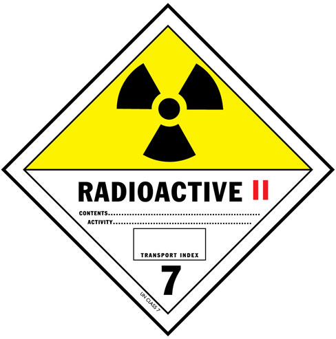 D.O.T. Radioactive II Materials Label for Transportation of Hazardous Materials - Class 7