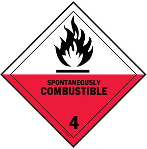 D.O.T. Spontaneously Combustible Label of Hazardous Materials - Class 4