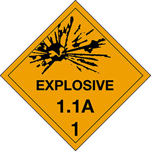 4 in x 4 in D.O.T. Explosives 1.2B HazMat Labels