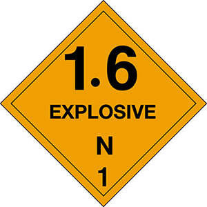 1.6N Explosives DOT Hazmat Labels