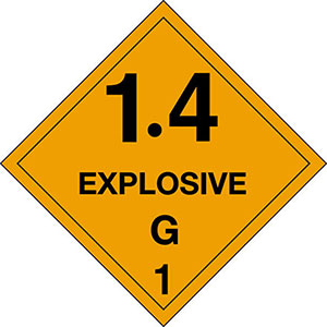 4 in x 4 in D.O.T. Explosives 1.4G HazMat Labels