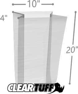 10 x 4 x 20 Gusseted Poly Bags 2 Mil
